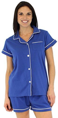 Sleepyheads Women's Sleepwear Stretchy Jersey Long Sleeve Button Up Top and Pants Pajama Set,Royal Blue,X-Small