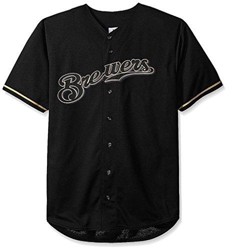 0e6df4da1 VF Milwaukee Brewers MLB Mens Majestic Black Fashion Jersey Big & Tall Sizes  ...