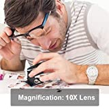 Yosoo 10 x 28mm Linen Test Three Folding Magnifying Glass Portable Zinc Alloy Magnifier (10X Lens) with LED Lamp for Textile Jewelry Collection Repair, Black