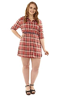 WallFlower Plus Size Plaid Belted Shirtdress