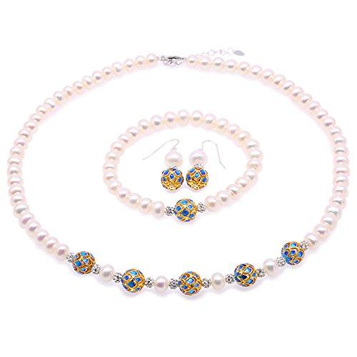 71db03e33ea4 JYX Collar de perlas 7 – 8 mm blanco perla cultivada de agua dulce collar  pulsera
