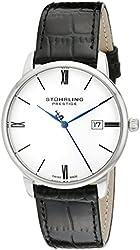 """Stuhrling Prestige Men's 307L.33152 """"Kingston"""" Swiss Made Date Stainless Steel Black Leather Strap Watch"""