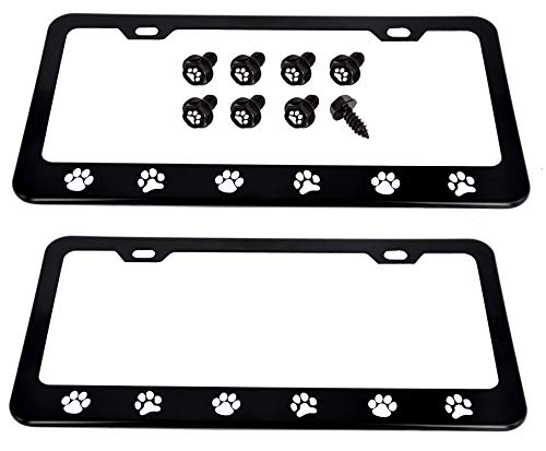 Cutequeen 2pcs Black License Plate Frame paw Print with 4 paw Print Little Black Fasteners White paw Black Base(Pack of 2)