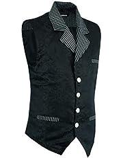 Darkrock Gentlemens Vest Black Waistcoat Brocade Casual Country Vest Steampunk Vest