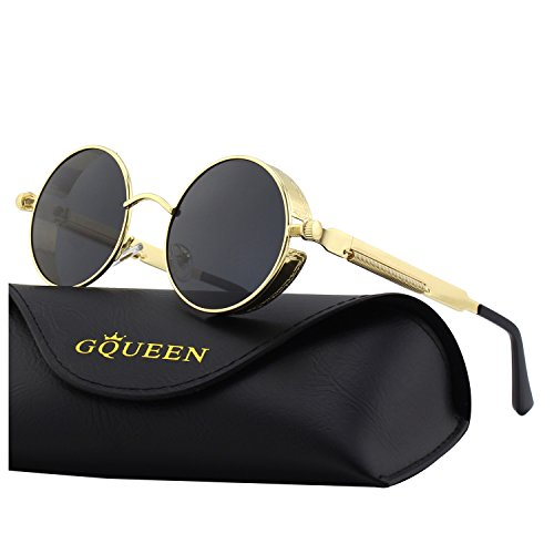 c494ff6166 GQUEEN Retro Round Steampunk Polarized Sunglasses MTS2 by GQUEEN