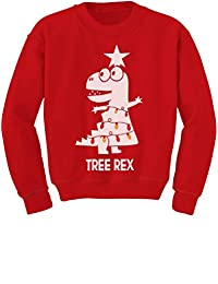 TeeStars - Tree Rex Cute Funny T-Rex Dinosaur Christmas Toddler/Kids Sweatshirt