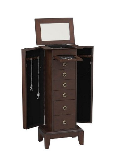 Amethyst Jewelry Armoire with Mirror by Linon