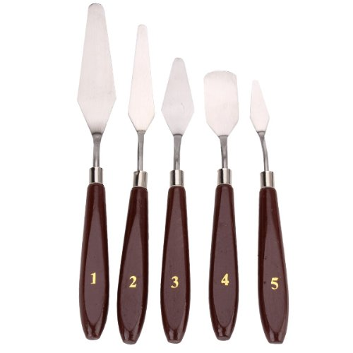 WEONE Painting Wooden Handle Pallette Knives Spatula Oil Paint (Pack of 5) JS-10409867