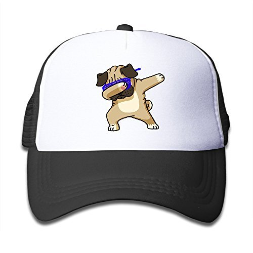 Dabbing Pug Funny Hip Pug Kids Mesh Cap Trucker Caps Hat Adjustable Black