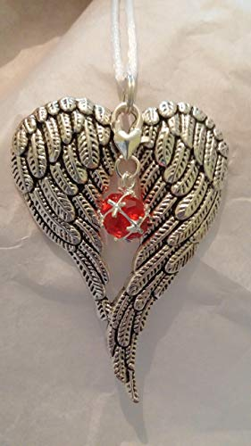 July Birthstone Angel Wings Memorial Ornament