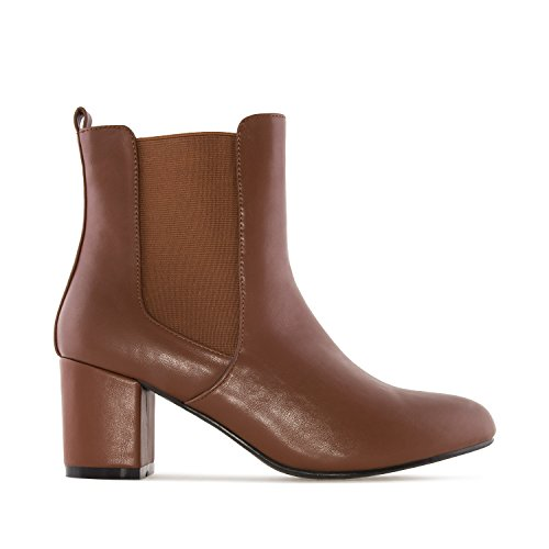 Andres Machado Am4087.chelsea Boots In Faux Leather.w Petite & Large Szs: Us 2 To 5-us 11.5 To 13 Brown Faux Leather