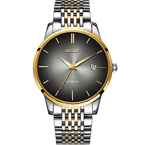 - Mens Luxury Black Faced Watches for Business, Automatic Silver Mechanical Stainless Steel Band Wrist Watches and Date Waterproof Watch, Classic Father Husband Christmas Gift New Watches on Sale