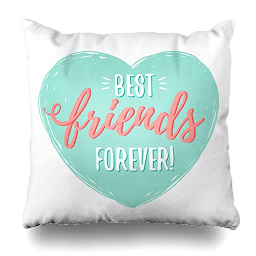 Ahawoso Throw Pillow Cover Square 22x22 Best Blue BFF Friends Forever Heart Green Day Lettering Text Friendship Happy Zippered Cushion Pillow Case Home Decor Pillowcase