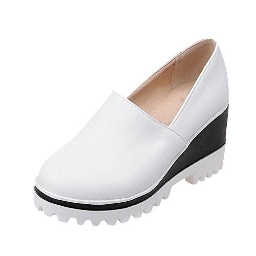 Latasa Plate-forme De Confort Mi-talon Casual Slip On Wedges Mocassins Chaussures Blanc