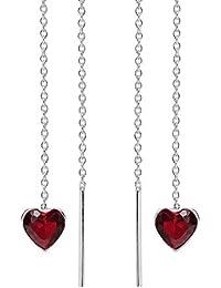 Sweet Heart Red Cubic Zirconia Thread Slide Sterling Silver Earrings