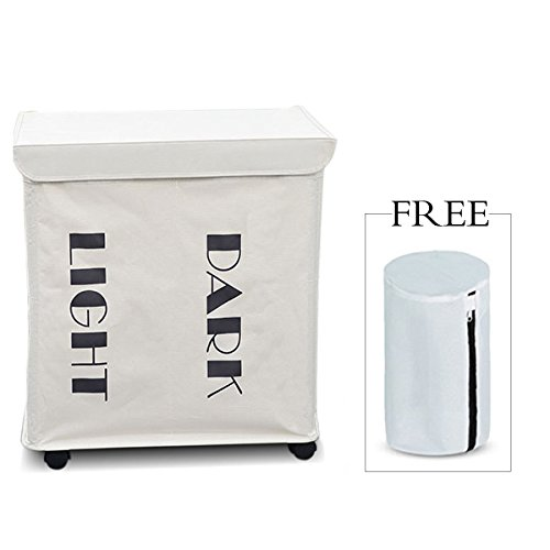 ZERO JET LAG Slide Foldable Double Laundry Hamper Handy Laundry Basket Laundry Bag 2pcs with Lid Wheels 21.7