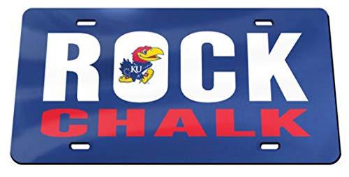 University of Kansas Rock Chalk Jayhawk Premium License Plate with Crystal Mirror Finish