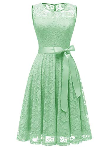 Dressystar 0009 Floral Lace Dress Short Bridesmaid Dresses with Sheer Neckline Mint L