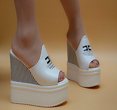 XiaoGao Super tacones 14 cm de fondo grueso zapatillas,Alfabeto blanco
