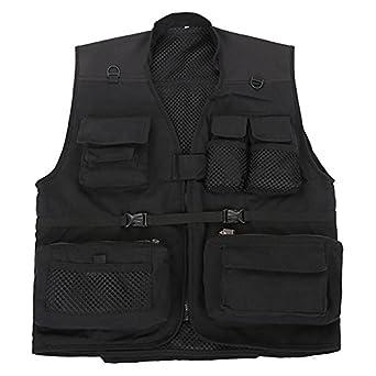 Cheerun men 39 s mesh multi pockets fishing vest photography for Fishing vest amazon