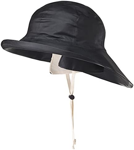 Pioneer V3035070-L Heavy-Duty Premium Sou'Wester Rain Hat, Dry King Fully Cotton Lined Black, L