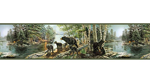 Bear Wall Border - Chesapeake TLL01531B Salvador Green Bear Necessities Border Wallpaper,