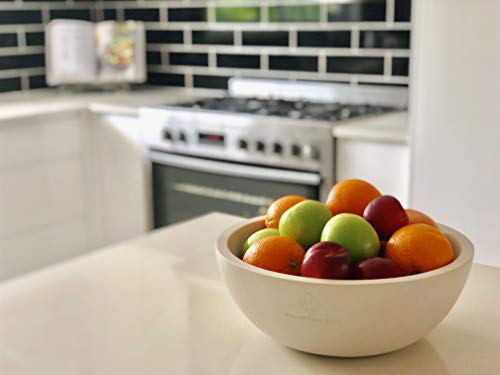 """Decorative Fruit Bowl for Kitchen or Dining Room, Concrete, White - Extra Large Food Bowls for Snacks, Candy - Handmade Kitchen Accessories for Tables and Countertops, 12"""" Diameter by Brawton Bay (Image #3)"""