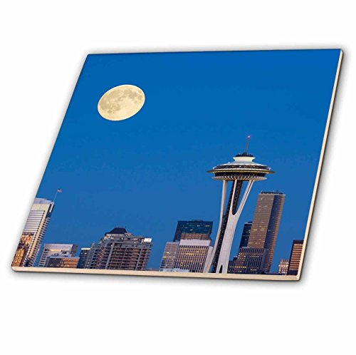 3dRose Danita Delimont - Seattle - WA, Seattle, skyline view with full moon. Composite image. - 6 Inch Glass Tile...