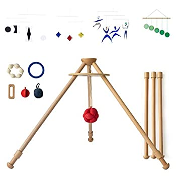 Image of Baby The Activity Gym by Monti Kids: Level 1 Includes Wooden Baby Gym/Baby Activity Center with Montessori Mobiles, Toys & Rattles; Parent Education and Support from Montessori Educators. Safety Certified.