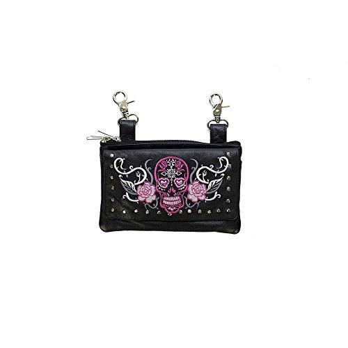 Studded Naked Cowhide Leather Hot Pink Sugar Skull Belt Bag/Hip Purse