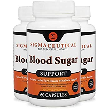 3 Pack of Blood Sugar Support Supplement - Normal Blood Glucose Control - Vitamin and Herb Extract Formula w/Guggul, Mulberry Extract, Vanadium & Gymnema Sylvestre - 60 Capsules Each