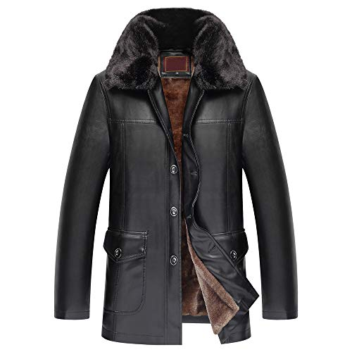 Allywit Men's Winter Full Zipper Thick Lined Faux Leather Jacket Big and Tall by Allywit (Image #9)