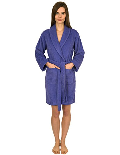 TowelSelections Women's Robe, Turkish Cotton Short Terry Bathrobe Small Blue Iris