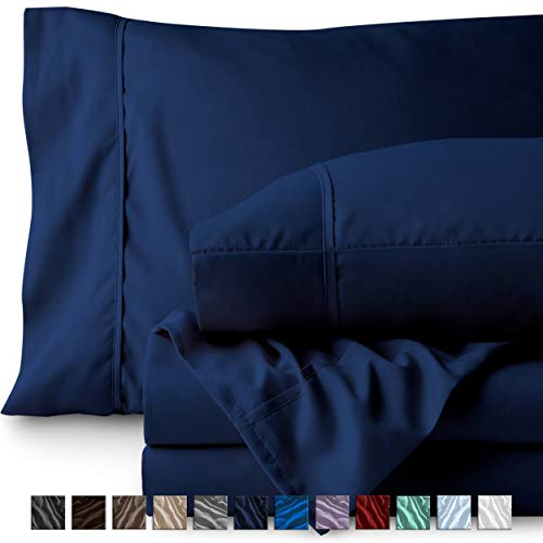 - Bare Home Twin XL Sheet Set - College Dorm Size - Premium 1800 Ultra-Soft Microfiber Sheets Twin Extra Long - Double Brushed - Hypoallergenic - Wrinkle Resistant (Twin XL, Dark Blue)