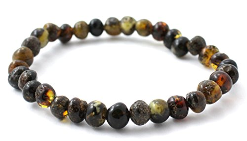 BoutiqueAmber Baltic Amber Bracelet - Adult Size (Women and Men) - 7 inches - Made on Elastic Band - Polished Baltic Amber Beads (7 inches, Dark (Green Amber Beads)