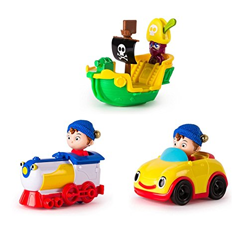 DreamWorks Noddy Toyland Detective - Set of All Vehicles - Revs Car, Noddy in Train , Pirate (Noddy Car)