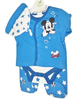Mickey Mouse 4 Piece Outfit for Baby Boy 6-9 Months (official size 9M)