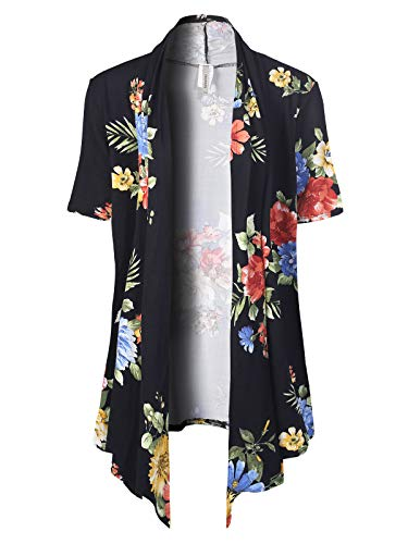 (MixMatchy Women's [Made in USA] Solid Jersey Knit Short Sleeve Open Front Draped Cardigan (S-3XL) Black/Yellow Flower Print 2XL)