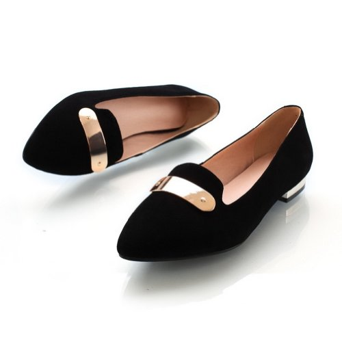 Amoonyfashion Damesschoenen Gesloten Puntige Neus Frosted Sheepskin Pu Solide Flats Met Metalornament Black