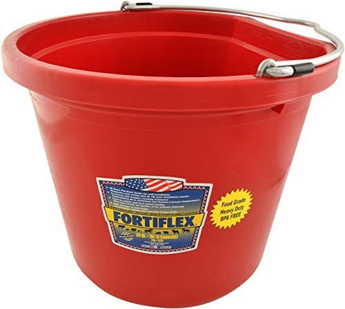 Fortiflex Flat Back Feed Bucket for Dogs/Cats and Small Animals, 20-Quart, Red