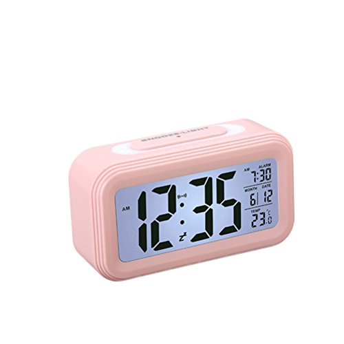 WINOMO LCD Digital Alarm Clock with Temperature Display Nightlight for Home Office(Pink)