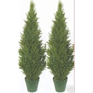 Two 4 Foot Artificial Topiary Cedar Trees Potted Indoor Outdoor Plants 18