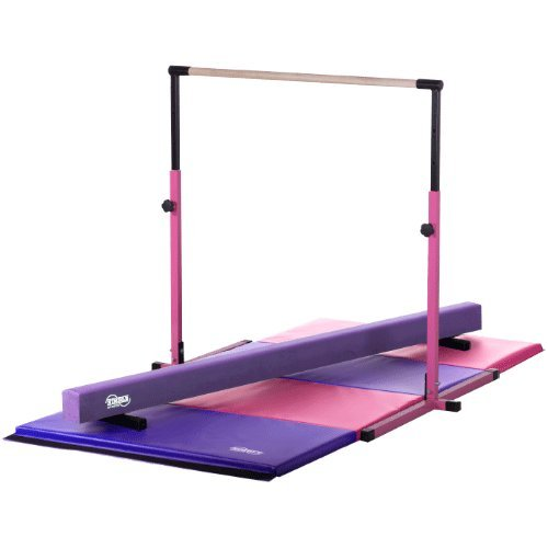 Little Gym - Adjustable Horizontal Bar - Purple Low Balance Beam - Pink/Purple Gymnastics Folding Mat