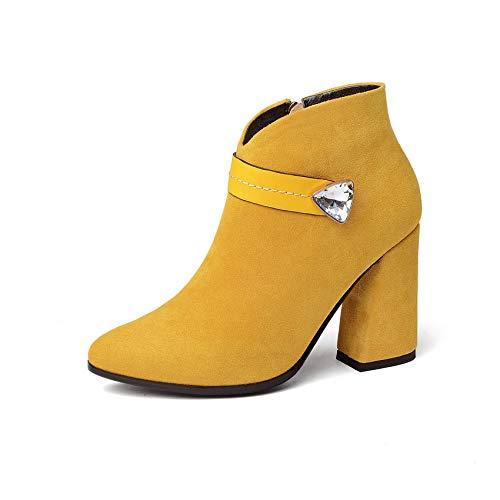 HOESCZS 2019 Frauen Stiefeletten Mode Frauen Schuhe Plattform Reißverschluss Elegant Spitz Huf Fersen Frauen Stiefel Größe 34-43