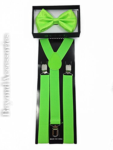 New Suspender Bow Tie Matching Colors Adults Unisex Formal - Halloween - Neon Green -