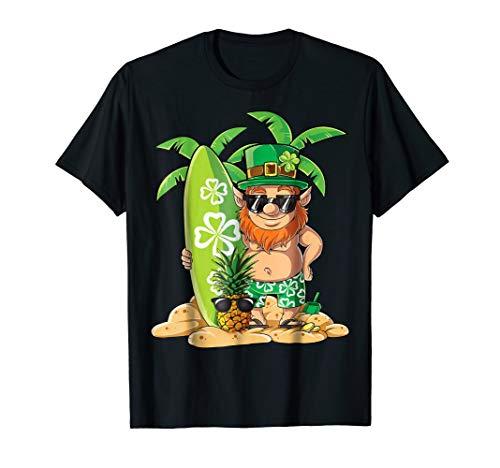 Leprechaun Hawaiian Surfing T Shirt St Patricks Day Hawaii