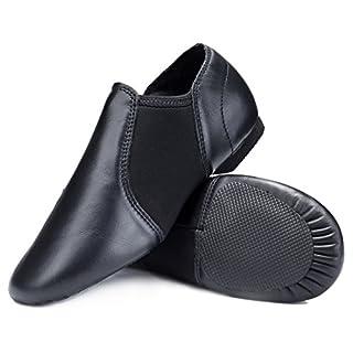 STELLE Leather Jazz Slip-On Dance Shoes for Adult Women Men (Black, 8.5MW)