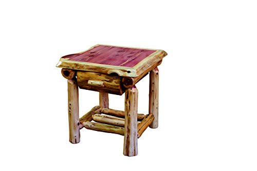 Rustic Red Cedar Log 1 Drawer Nightstand / End Table - Amish Made in the USA - Log Cedar Nightstand 1 Drawer