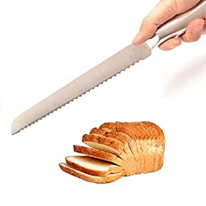 IBEET Stainless Steel Serrated Bread Cake Slicer Knife Cutter 15 Inch Long