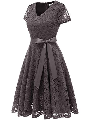 Lace Sleeves Short Bridesmaid Cocktail Dress Formal Gardenwed Floral Grey Neck Dress Women's V wqw8Ifp